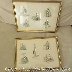 Pair Antique Italian watercolour paintings of different trades people / workers.