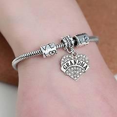 Sparkling Diamante Love Charm Heart Pendant Bracelet - Grandma Gateshead Lake Macquarie Area Preview