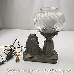 Antique Metal Dog Lamp with Glass Globe - Working