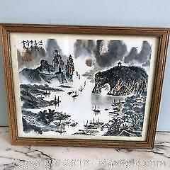 NICE OLD CHINESE MOUNTAIN LAKE LANDSCAPE PAINTING ARTIST SIGNED