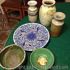 Collection of studio pottery items. Some pieces signed. Charlotte Rhead large plate .