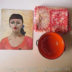 Vintage Linen, Strainer and Oil Painting A