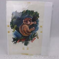Original Vintage 1960's New York Publishers Watercolor Artwork of a Potto Animal.