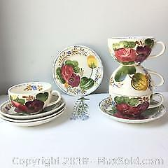 10 piece vintage Belle Fiore Pattern teacups, saucers 2 small plates. A
