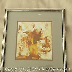 Andrew Plum British/ Canadian artist signed small abstract painting  Land of the Pharaohs.