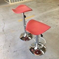 Bar Stools(2)-gas lift, swivel, chrome bases, leather seats, vgc