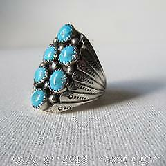 Ronald Tom Navajo Silver & Turquoise Ring A