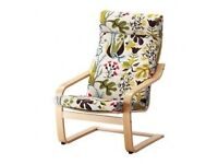 Ikea Poang Birch Chair with Blomstermala Multicolor AND white fleece seat covers £80ono