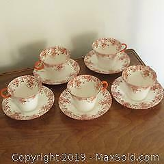 Rare Shelley English bone china Art Deco cups and saucers. Five cups and saucers
