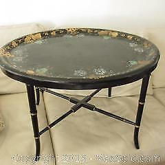 Large Antique English Victorian inlaid lacquer tray side table / coffee table.