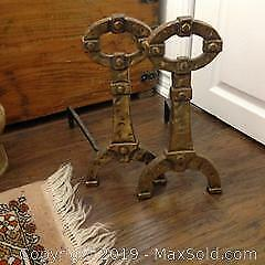 Antique ANDIRONS in a Celtic design. Heavy brass and forged iron.