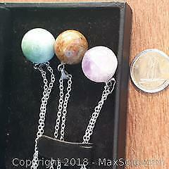 New 3 gemstone orb necklaces