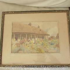 Fine old English signed watercolour painting historical hospital Taunton Somerset.