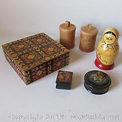 Russian vintage straw box, stacking dolls, birch bark, lacquered boxes