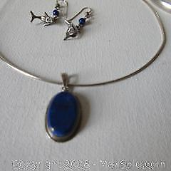 Silver jewelry, necklace, bangle and earrings