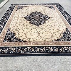 Oriental Rug-Rococo style, machine made, navy and cream, in vgc