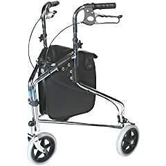 Three wheel walker with brake and shopping bag