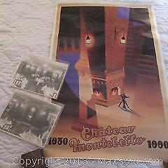 Chateau Montebello Poster and Vintage Interior Photographs x2 A