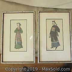 Antique 19th. century fine Chinese paintings on silk.