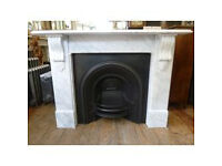VICTORIAN STYLE CARRARA MARBLE FIREPLACE SURROUND WITH CAST IRON FIREPLACE needs restoring