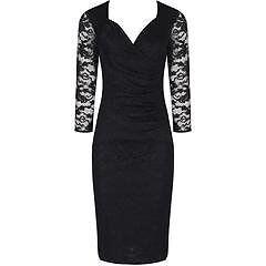 3/4 Sleeve Vintage Black Lace Bodycon Wiggle Dress (size 16)