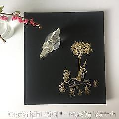Unicorn lot: book, sculpture and earrings A