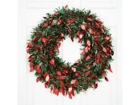 Leaf Die Cut Tinsel Wreath (Red & Green). Christmas Decorations for sale