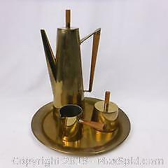 Brass Finished Coffee Set Made in Italy