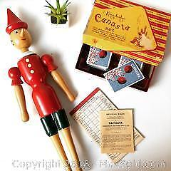 Vintage wood toys and canasta game B