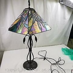 Tiffany Style Table Lamp Plastic Shade Metal Base