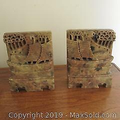 Pair vintage Chinese carved soapstone boat bookends.