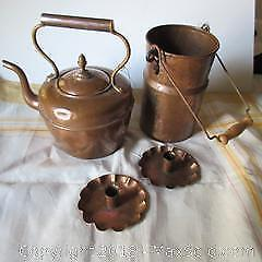 Copper Lot, Kettle, Candle Holder, Utensil Container, Linen A