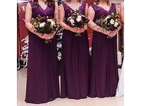 Stunning Mark Lesley bridesmaid dresses, colour egg plant, sizes 12, 14, & 20.