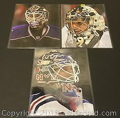 Lot of 3 Goalie Mask 8 x 10 Photographs (Lundqvist / Fluery / Quick)