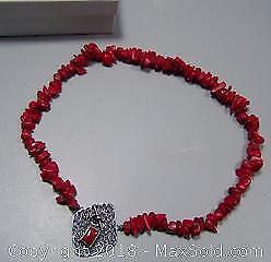 Sterling Silver & Genuine Red Coral Vintage Necklace Over 100 Beads - A