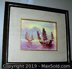 Framed Oil Painting On Canvas Boats In Harbor Signed P. Shoung