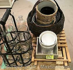 Glass Vases, Folding Plant Stand and multiple planters and baskets - A