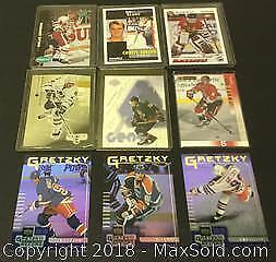 Lot of 9 Cards Gretzky, Lindstrom, Hasek, And More .