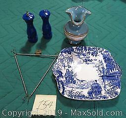 Blue and white plate with plate hanger, Salt and pepper, Blue vase with gold trim