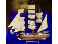 LARGE VINTAGE WOODEN MODEL SHIP ON STAND - UNIQUE HAND-MADE - Boat Ornament Scale Rare Collectable