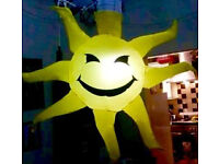 2 x GIANT 3ft INFLATABLE SUNSHINE HANGING DECORATIONS - BEACH PARTY THEMED EVENT nightclub marquee