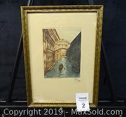"""Hand-Coloured Etching Venice """"Bridge of Sighs"""" Signed by Artist"""