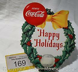 "COCA-COLA vintage die cut CARDBOARD ""Merry Christmas"" hanging sign."