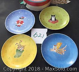 Boxed Set Of 4 Cat XMas Plates