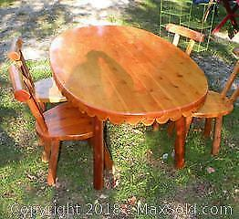 Pine 5 ft table and 4 chairs