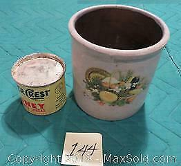 Large heavy crock and antique Clover Crest honey tin