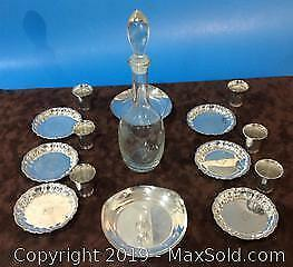 Decanter and Danish set of silver plate dishes