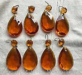 Lot of 8 Amber Glass Teardrop Lamp Crystals