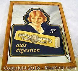 Art Deco Style 1986 Mirrored Beemans Chewing Gum Framed Advertising Wall