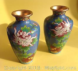 Pair of cloisonne Chinese vases.